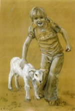 Eilidh with a lamb - 2007 Charcoal and Chalk